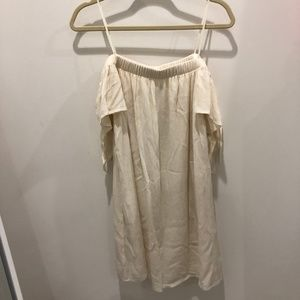 NWT One Clothing|Off the Shoulder Cream Mini Dress